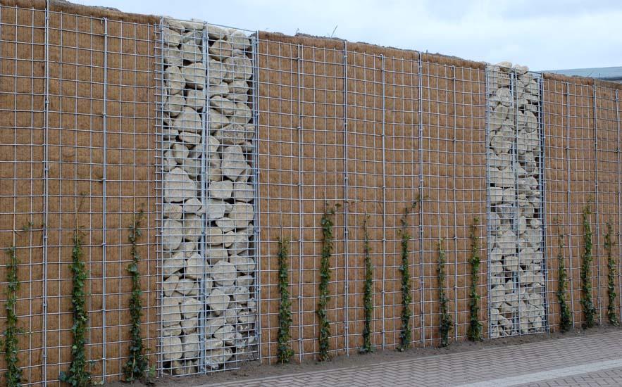 Lärmschutzwand kombiniert begrünbar bepflanzt steinverfüllt